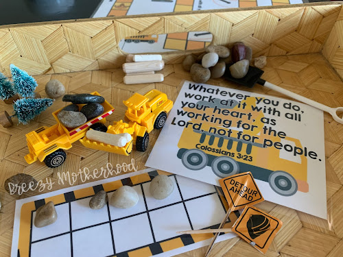 Construction truck preschool sensory and academic activities for homeschool