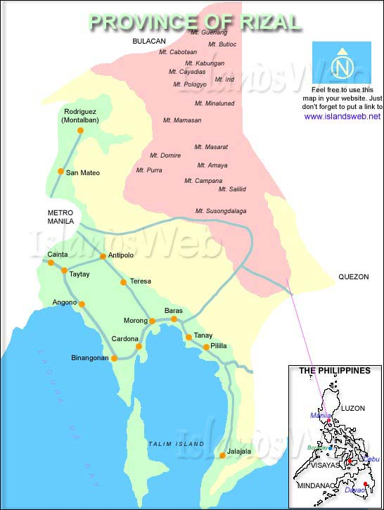 Rizal Philippines Map.Bryan Destinations Rizal Province A Place To Visit
