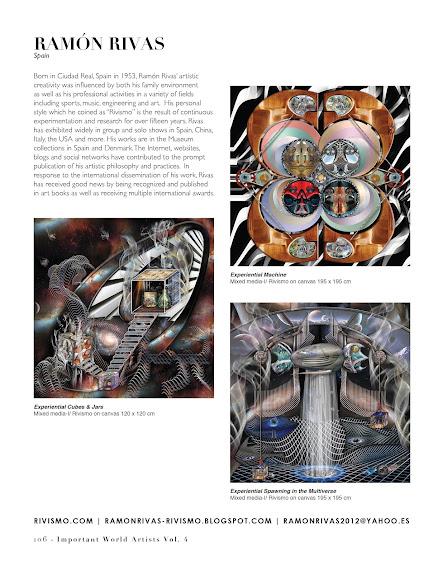 """Obras de Ramón Rivas en una página del libro:""""Important World Artist"""""""