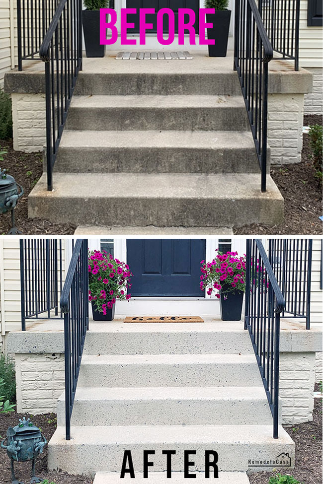 Ryobi 3100 psi pressure washer used to clean concrete stoop - before and after shot