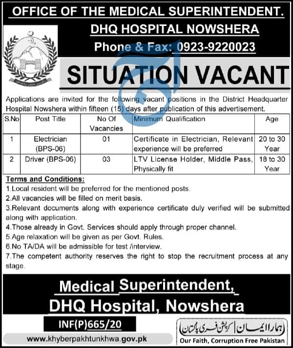 Jobs in DHQ Hospital Nowshera 2020
