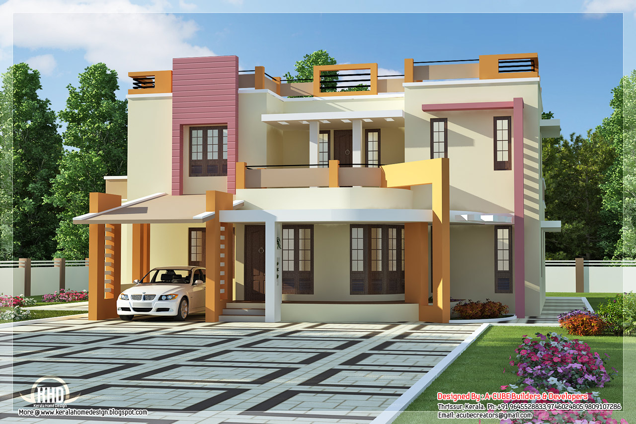 Beautiful modern contemporary 4 bedroom villa kerala for Modern house 2 floor