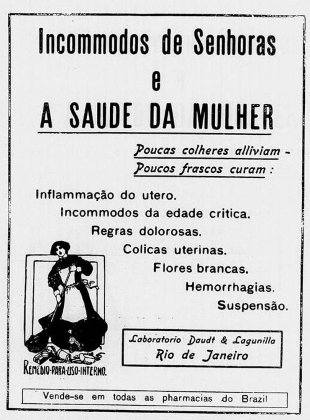 Anúncio antigo do medicamento Saúde da Mulher veiculado em 1912