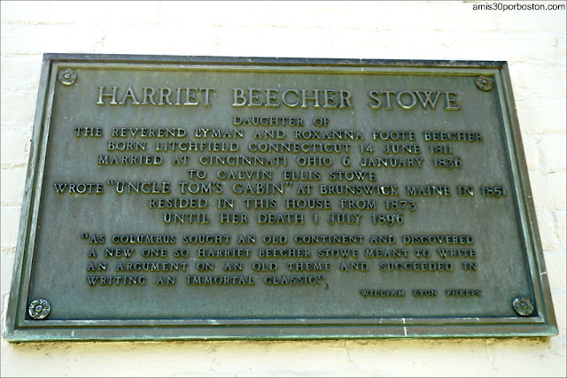 Placa Casa Museo de Harriet Beecher Stowe en Hartford, Connecticut