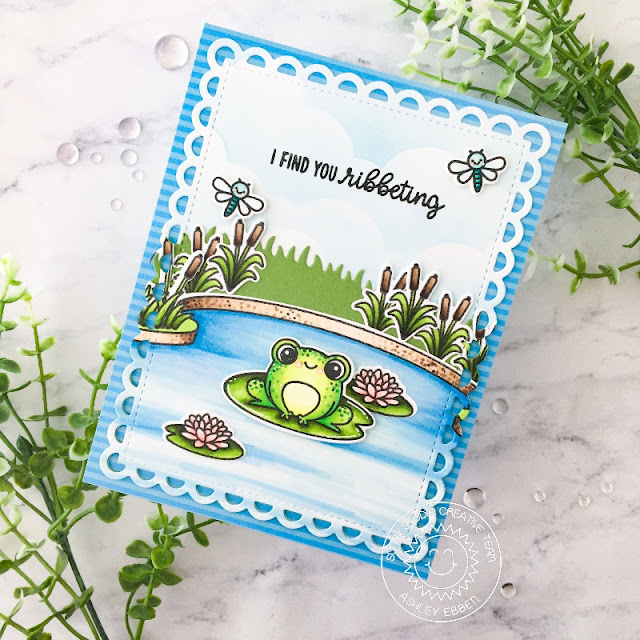 Sunny Studio Stamps: Feeling Froggy Country Scenes Slimline Dies Frilly Frame Dies Punny Card by Ashley Ebben