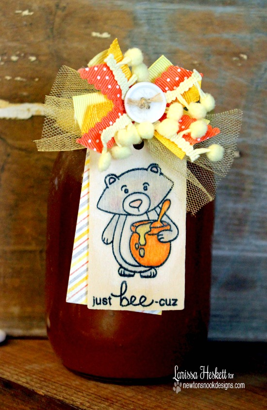 Honey Bear tag by Larissa Heskett | Winston's Honeybees stamp set by Newton's Nook Designs #newtonsnook #bee