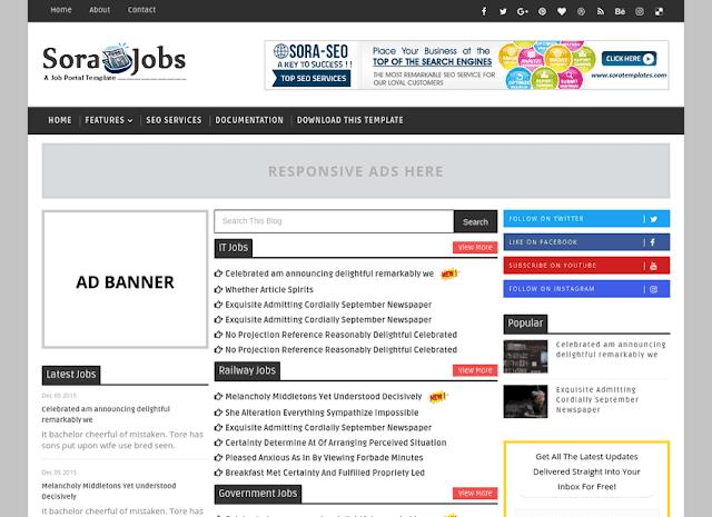 Sora Jobs mobile friendly blogger template