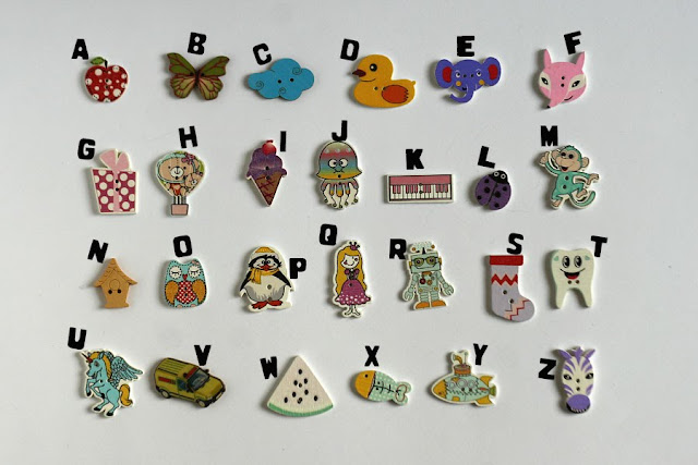 Sew-on alphabet buttons by TomToy
