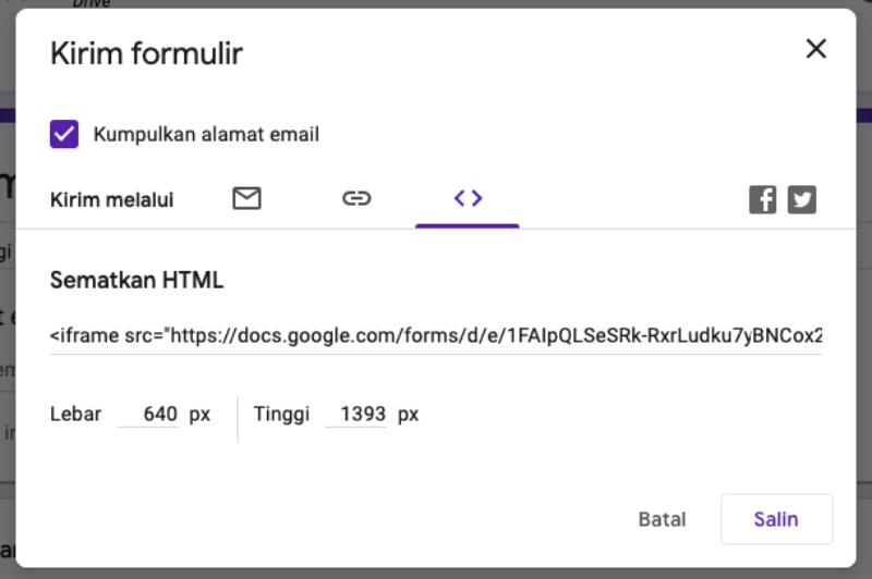 Membuat Quiz dengan Formulir online google  cara membuat Iframe