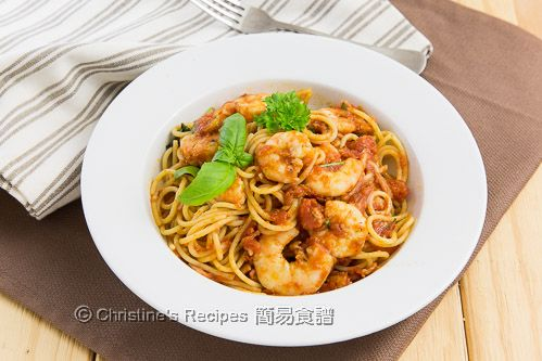 日曬蕃茄燴蝦意大利麵 Spaghetti with Prawns and Sundried Tomatoes02