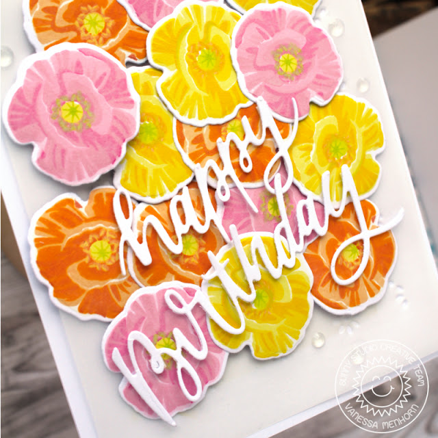Sunny Studio Stamps: Poppy Fields Frilly Frame Dies Blooming Frame Dies Floral Card by Vanessa Menhorn