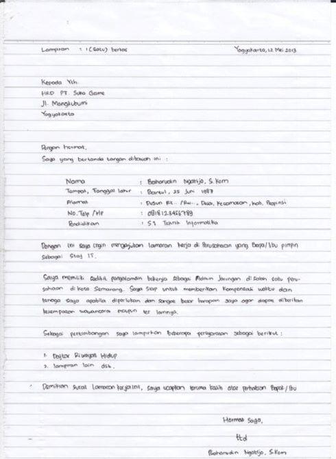 Contoh Surat Lamaran Pekerjaan Tulis Tangan