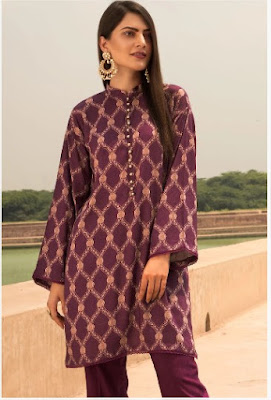 Warda Printed Linen with purple color winter unstitched collection