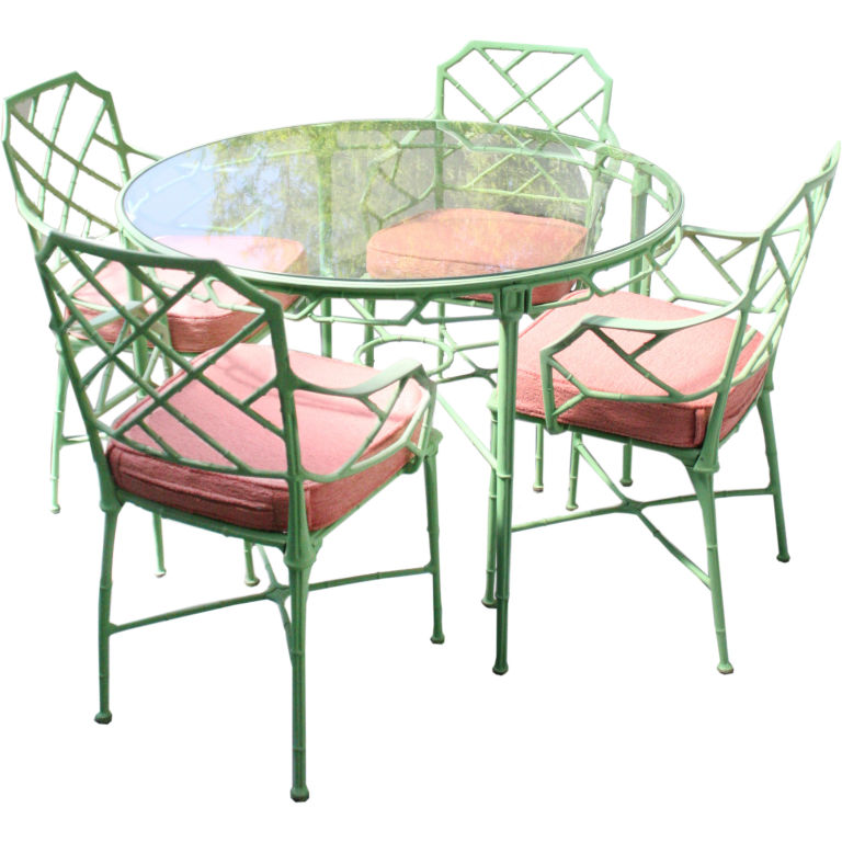 This Chinese Chippendale Faux Bamboo Outdoor Dinette Set From The 1950s Is Available On 1st Dibs For 6 400 Perhaps You Have A Patio Like Already