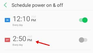 power off ke liye time par click kare
