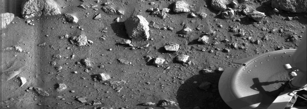 first clear photograph of the surface of Mars taken by the Viking Lander 1
