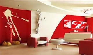 Diseño de sala color rojo