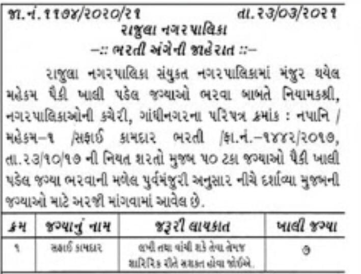 Rajula Nagarpalika recruitment for Safai Kamdar 2021: Find All Details here