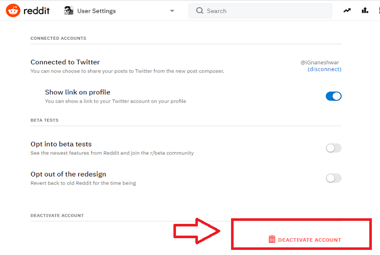 How to permanently delete Reddit account