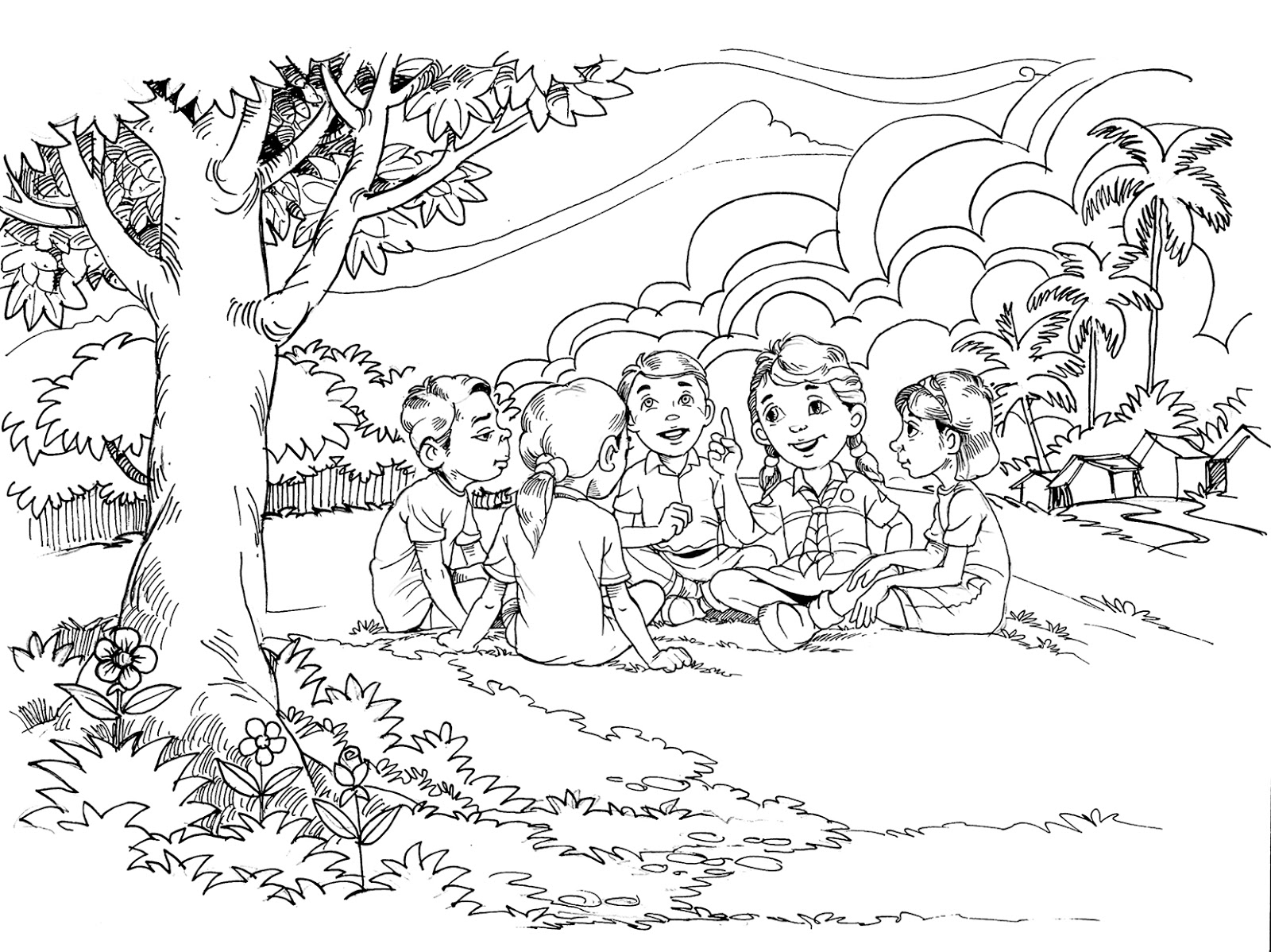 Sketsa Gambar Ilustrasi Buku Cerita Iluszi