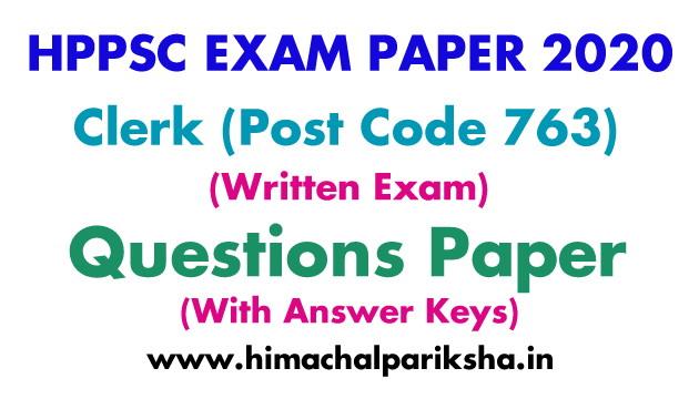 HPPSC Clerk Exam 2020 | Question Paper | Answer Key | Himachal Pariksha
