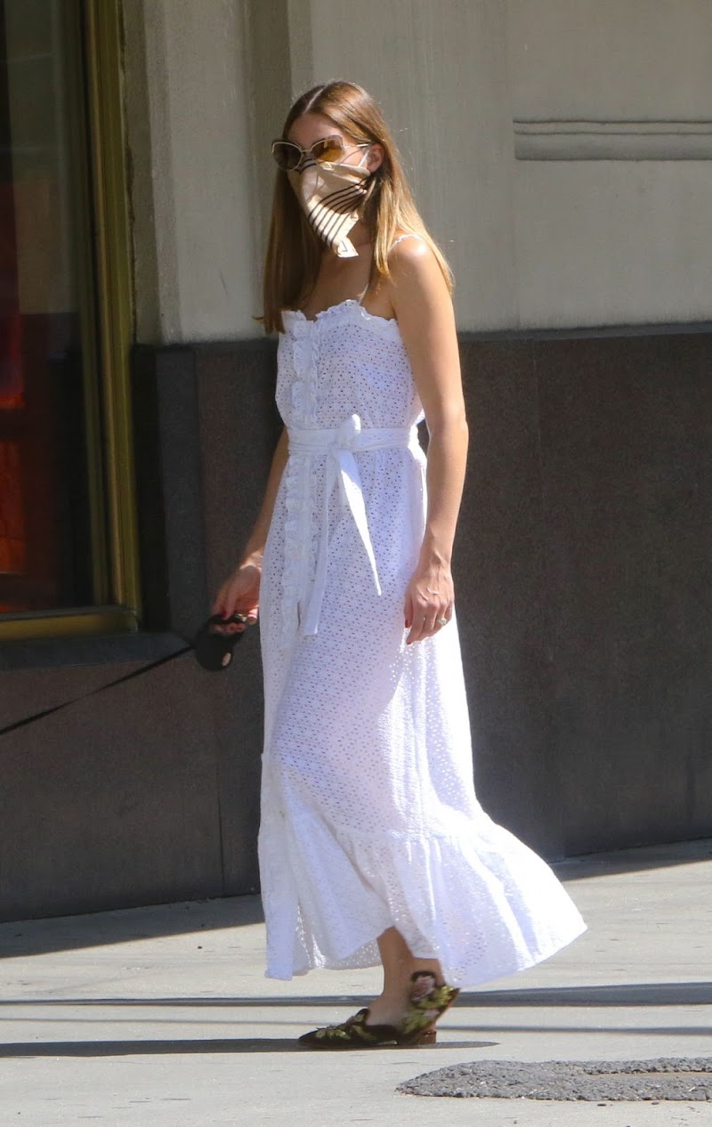 Olivia Palermo Outside Walking Mr. Butler in New York 2 Aug- 2020