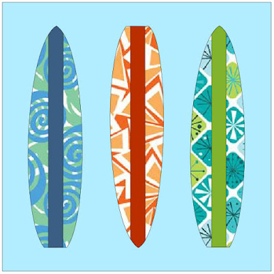 QuiltFabrication created Summer Fun Surfboards, three vertical surfboards on a blue background
