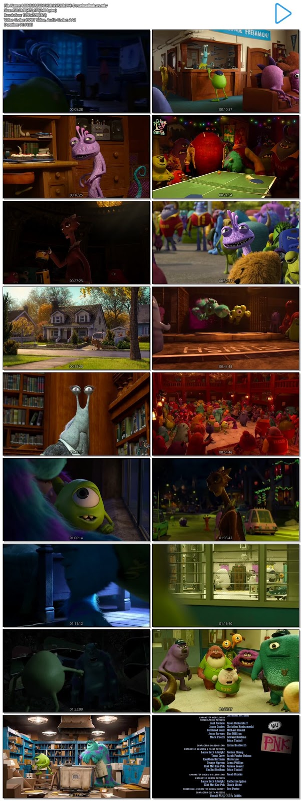 Monsters University 2013 English 720p HEVC BRRip ESubs