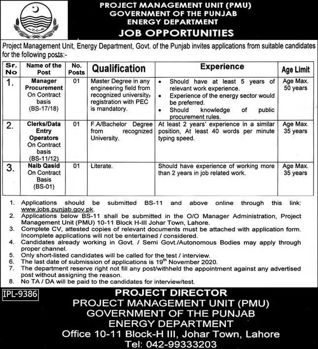 Project Management Unit PMU Latest Jobs 2020