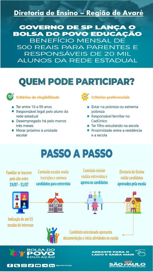 GOVERNO DE SÃO PAULO LANÇA O BOLSA DO POVO EDUCAÇÃO (BENEFÍCIO DE 500 REAIS/MÊS)