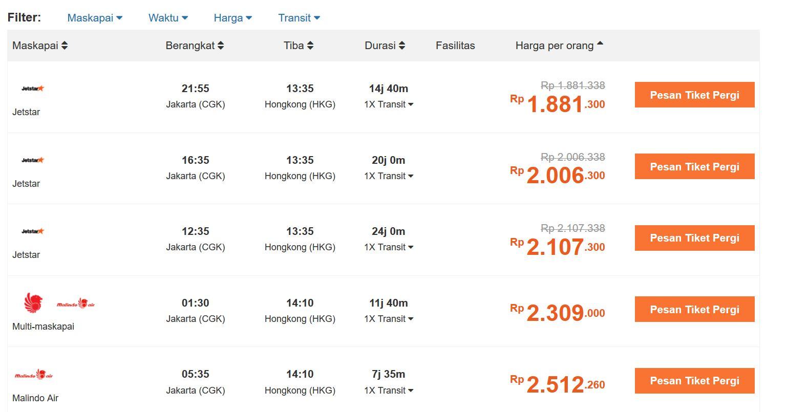 tiket murah ke hongkong