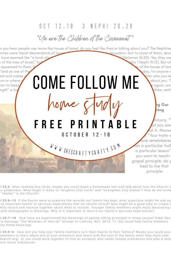 Come Follow Me home study Free Printable Oct 12-18