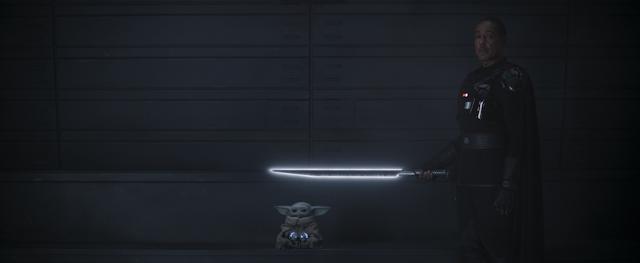 Moff Gideon With Dark Saber and Grogu Baby Yoda The Mandalorian Season Two Finale Disney Plus