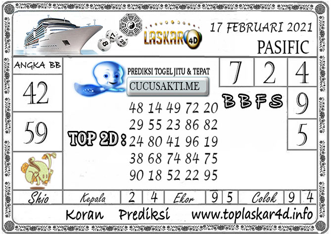 Prediksi Togel PASIFIC LASKAR4D 17 FEBRUARI 2021