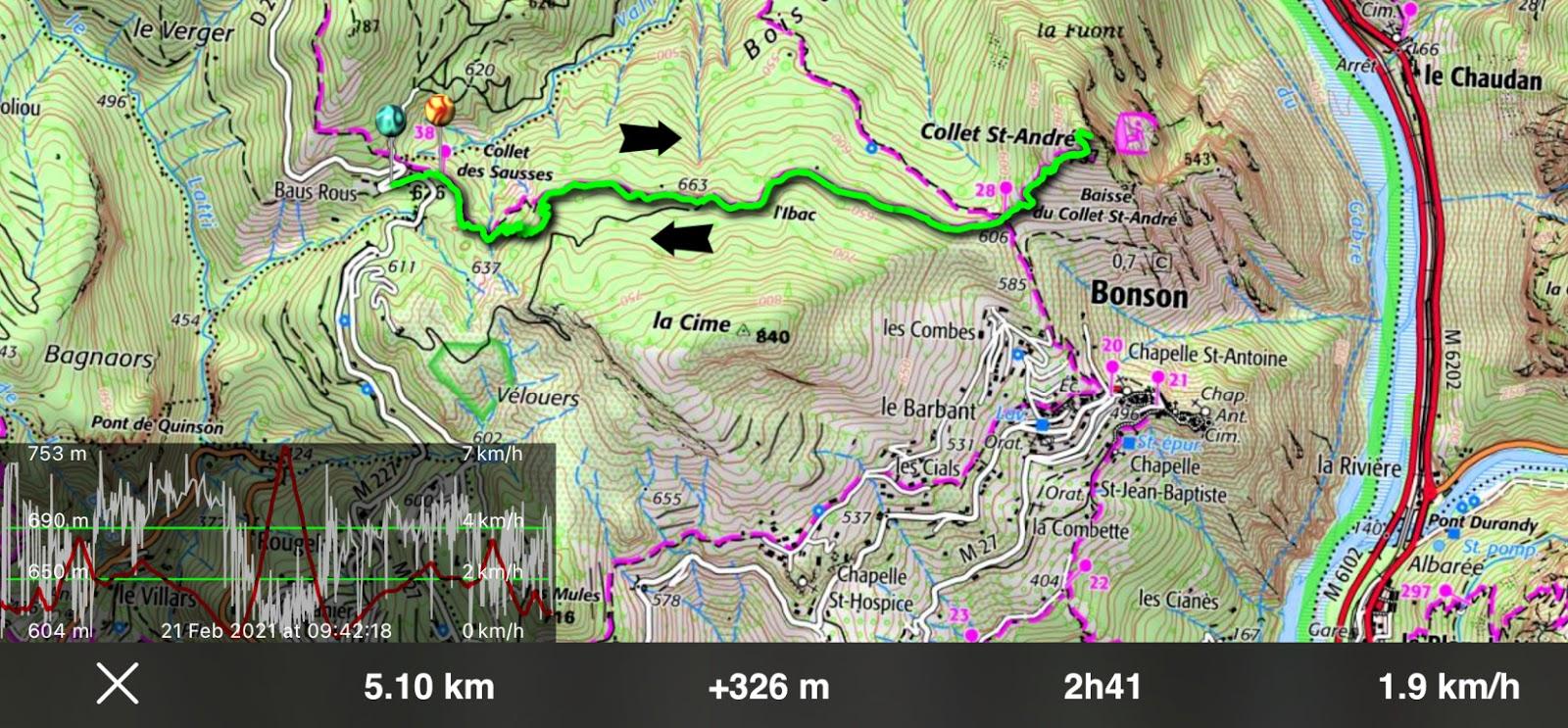 Collet St-André hike track