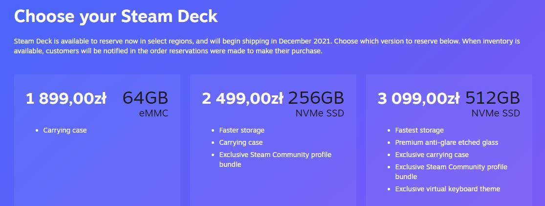 steam deck cena