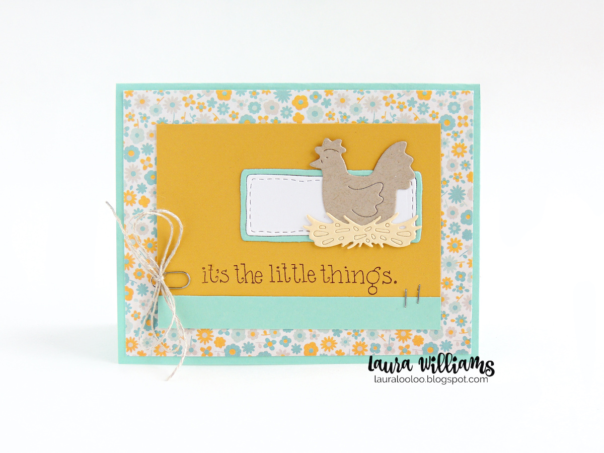 Country chic cardmaking idea with the Sitting Hens dies and It's the Little Things sentiment stamp from Impression Obsession for handmade cards.