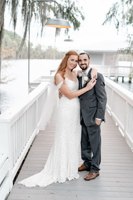 bride and groom on paradise cove orlando pier