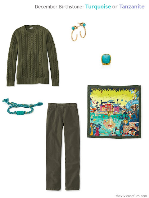 an olive outfit worn with turquoise jewelry and a printed silk scarf