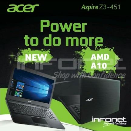 Harga Laptop Acer Aspire Z3-451 Tahun 2017 Beserta Spesifikasi, Dibekali Processor AMD Quad Core A10 5757M