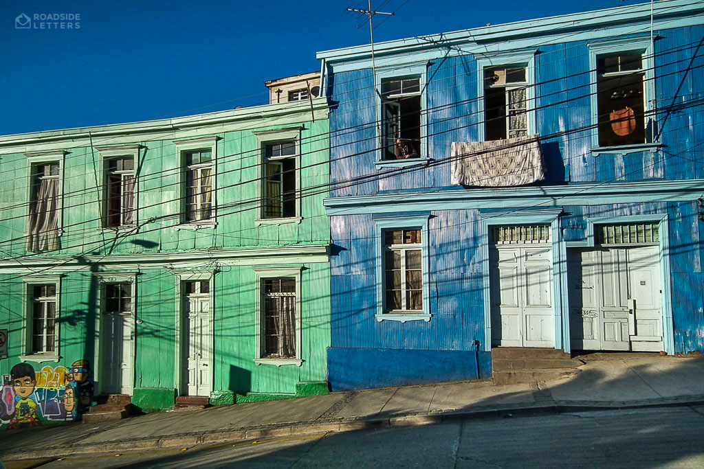 Houses covered with colourful sheet metal in Valparaíso