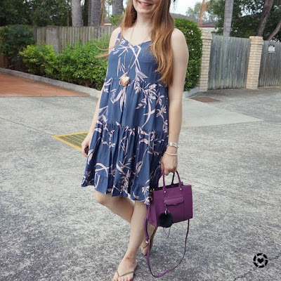 awayfromblue instagram | summer style tiered sundress kmart blue pink print with purple mini mab bag