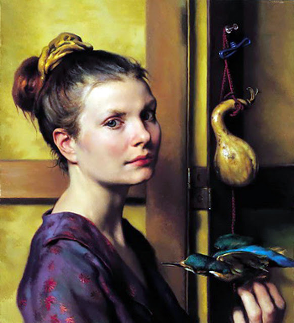 Nelson Shanks, Portrait with blue bird, International Art Gallery, Self Portrait, Art Gallery, Portraits of Painters, Fine arts, Self-Portraits, Painter Nelson Shanks