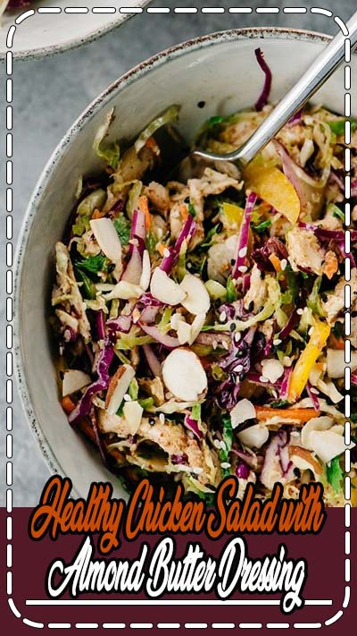 Skip the mayo and make this healthy protein packed chicken salad with almond butter dressing! This paleo and gluten free recipe is packed with fresh vegetables, crunchy nuts and seeds, and finished with a creamy, asian inspired almond butter dressing. This no mayo chicken salad is a great paleo, whole30, low carb, and gluten free meal prep recipe, and takes less than 30 minutes to make! #chicken #salads #paleo #whole30 #glutenfree #dairyfree