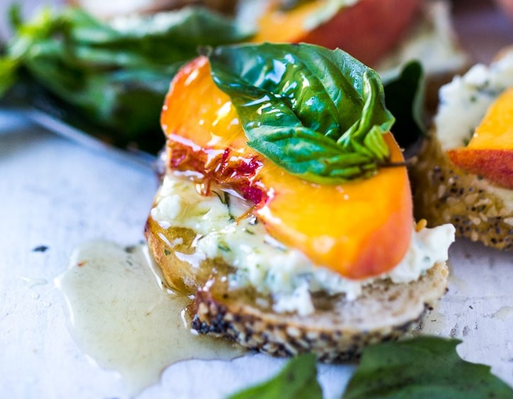 Peach Bruschetta With Goat Cheese Basil