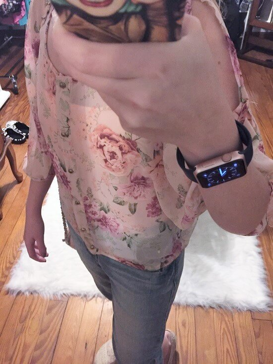 floral cut out sleeve top outfit of the day