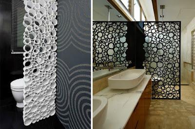 Potongan paralon dijadikan sekat ruangan Dengan hasil estetis