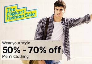 Flipkart Fashion Sale: Minimum 50% Off on Men's Best Brand Clothing+ 10% Extra off with SBI Cards