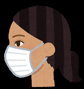 マスクを付けた人の横顔のイラスト(東南アジア人女性)