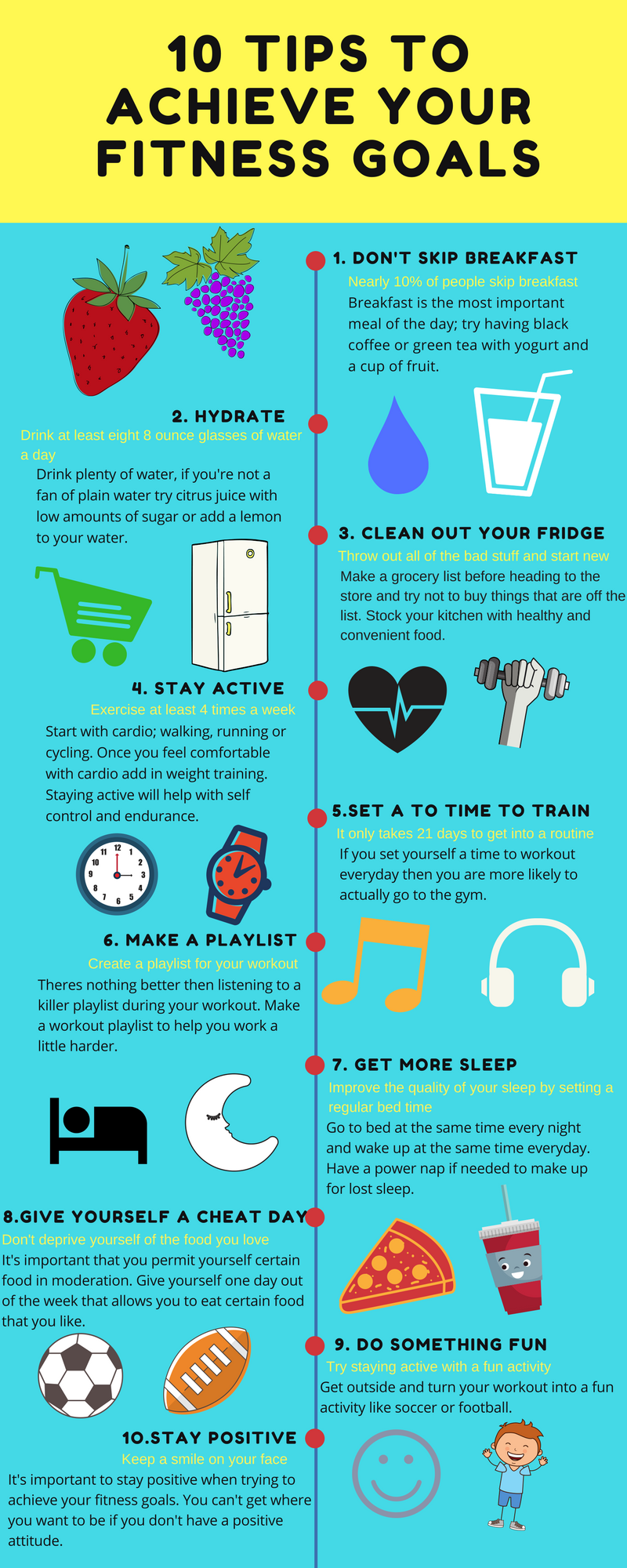 10 Tips To Achieve Fitness Goals #infographic